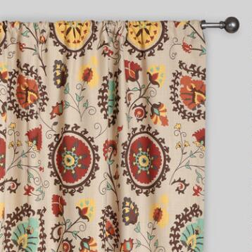 Gold and Red Suzani Cotton Curtain